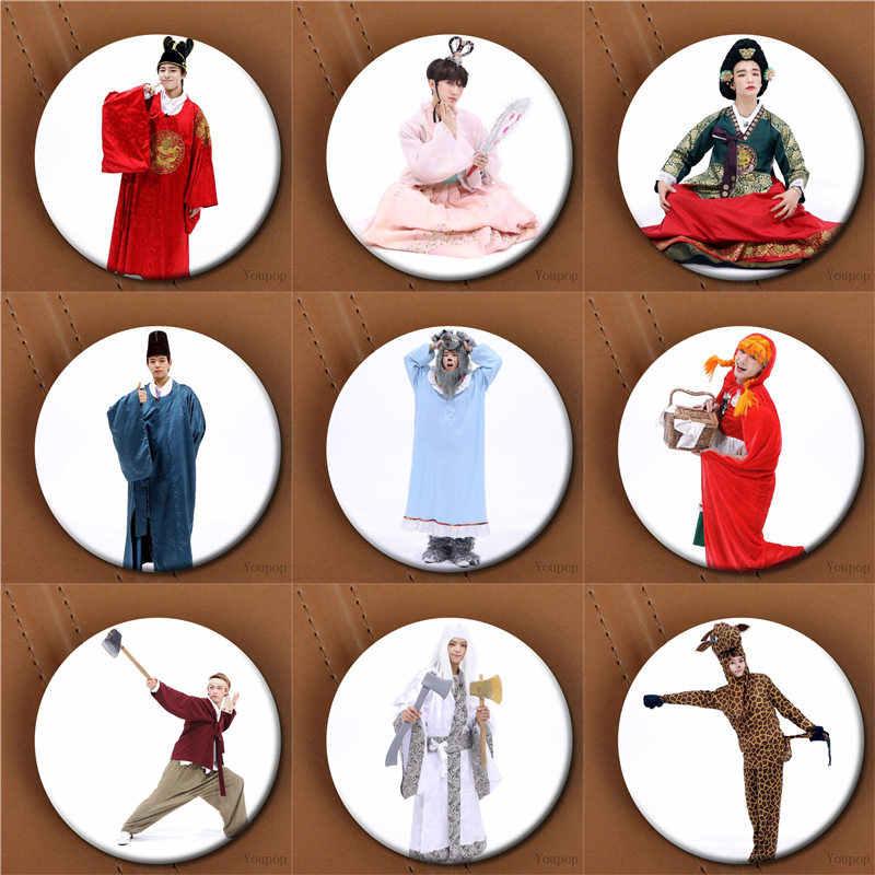 Youpop KPOP Streu Kinder Cosplay StrayKids Bang Chan I.N WOOJIN Foto Abzeichen Pins Broschen für Kleidung Hut Rucksack