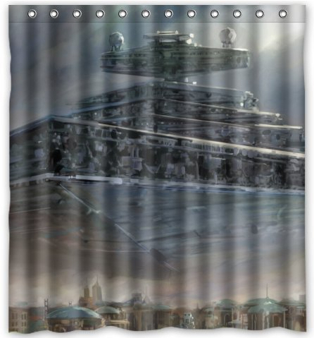 Free Shipping The Alien Spaceship Shower Curtain Bath Effect Water Proof Cube 60 X 72 C474