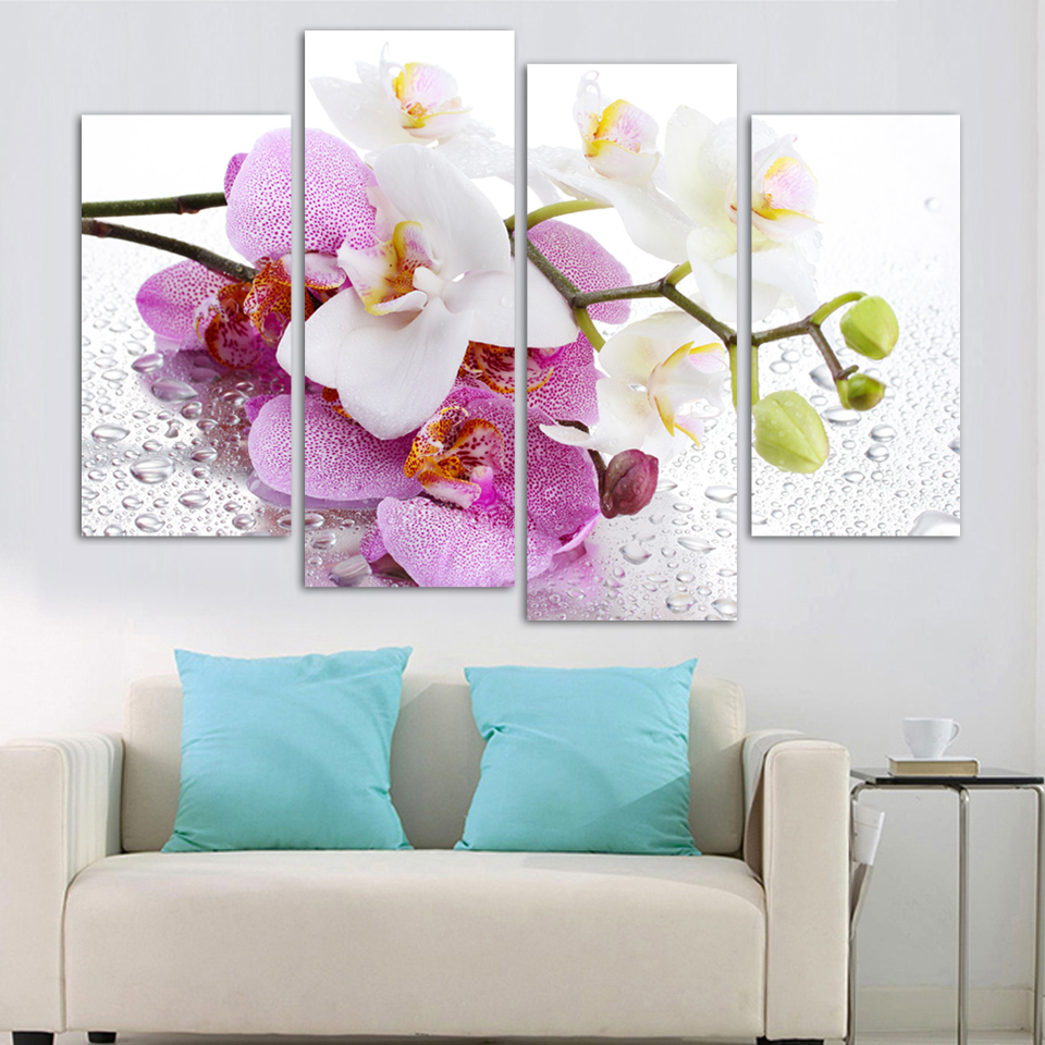 4 Square Free Shipping Art Canvas Painting Home Decor Digital Photos Wall Stickers Purple Butterfly Orchid Picture H081 In Calligraphy From