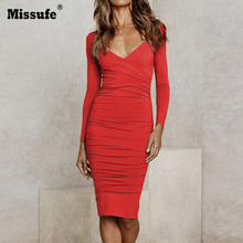 Missufe Long Sleeve Autumn Winter Dresses Ruched Solid Red White Black V Neck Knee Length Sexy Robe Womens Bandage Dress