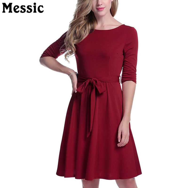 Messic Half Sleeve O Neck Knitted Dress Women Sashes Bow Tied Tunic Ladies Dresses 2018 Autumn Casual Midi A Line Robe Femme free shipping women lace dress 2016 autumn style good quality half sleeve casual dress o neck 55