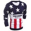 2016 Nova Moda Camisola O-pescoço Clássico Estrela de Cinco pontas-Padrão Slim Fit Dos Homens de Malha de Algodão Blusas Casuais Pullovers