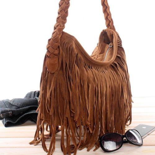 Women Trending Cross Body Bag Tassel Suede Fringe Messenger Soft Zipper Streetwear Shoulder Handbag Celebrity Satchel Tote Bag