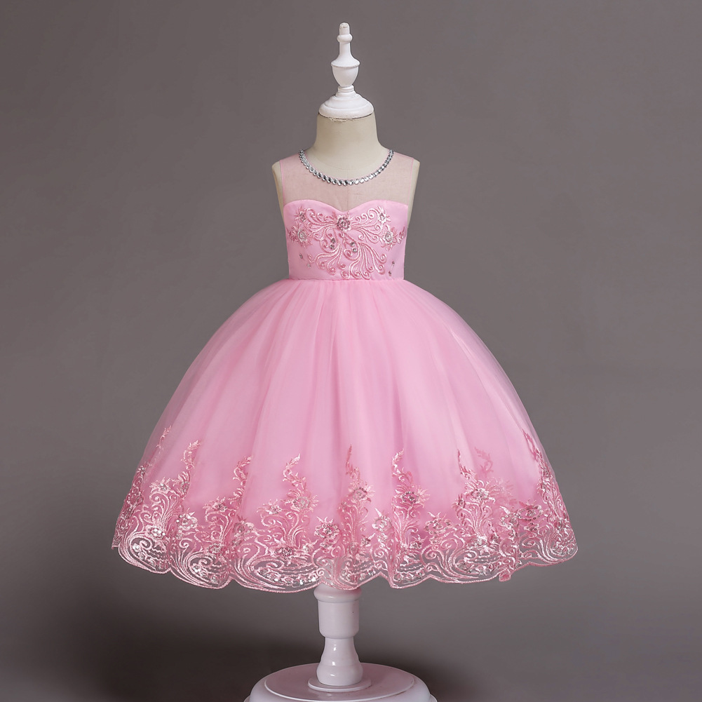 Pink White Tulle Children Wedding Evening Party Clothes Flower Girl Dress Age 10 12 14 Year Teen Girls Pink Princess Gown