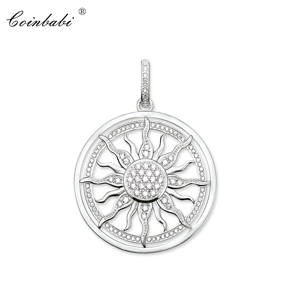 Pendant Sun 925 Sterling Silver White Zirconia For Women Trendy Jewelry Gift Thomas Key Chains Pendant Jewelry Fit Ts Necklace