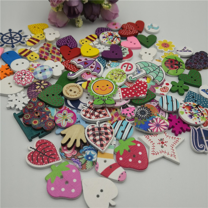10PCS//Bag Cartoon Cat Shape Wood Buttons Decorative Sewing Buttons Crafts//Y