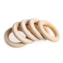 5 pcs Crafts DIY Baby Teething Natural Wooden Rings Necklace Bracelet 55mm  #T026#