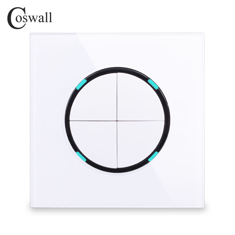 Coswall 2018 New Arrival 4 Gang 1 Way Random Click Push Button Wall Light Switch With LED Indicator Crystal Glass Panel