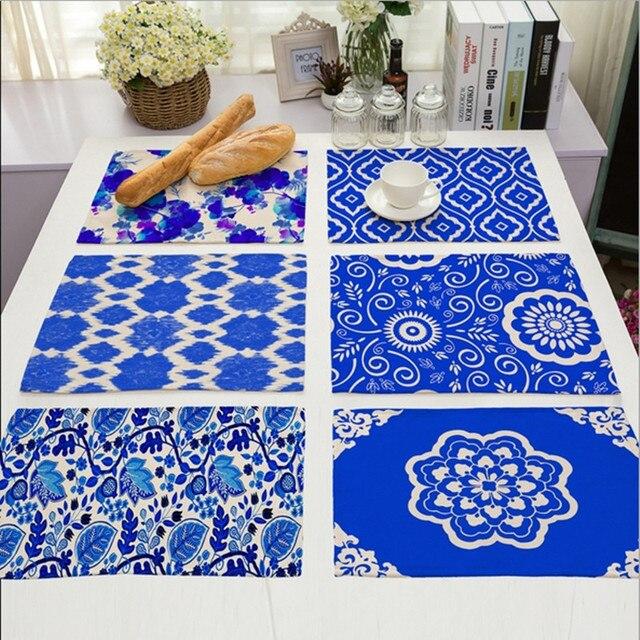 Bleu Et Blanc Chine Fleur Napperon Coton Lin Dessin Table Tapis