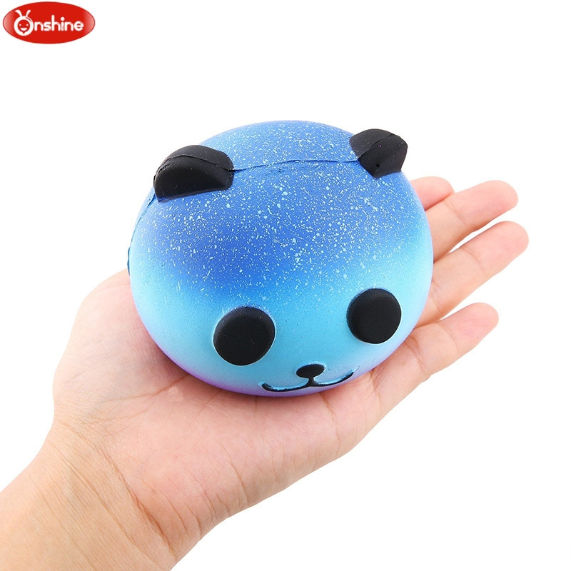 Cute Blue Panda Cream Scented Squishy Slow Rising Squeeze Kid Toy Phone Charm Gift jumbo squishy cute glasses bear scented charm super slow rising squeeze toy