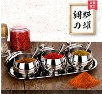 High quality 304 stainless steel spice jar three piece set kitchen seasoning box fashion sugar salt bottle
