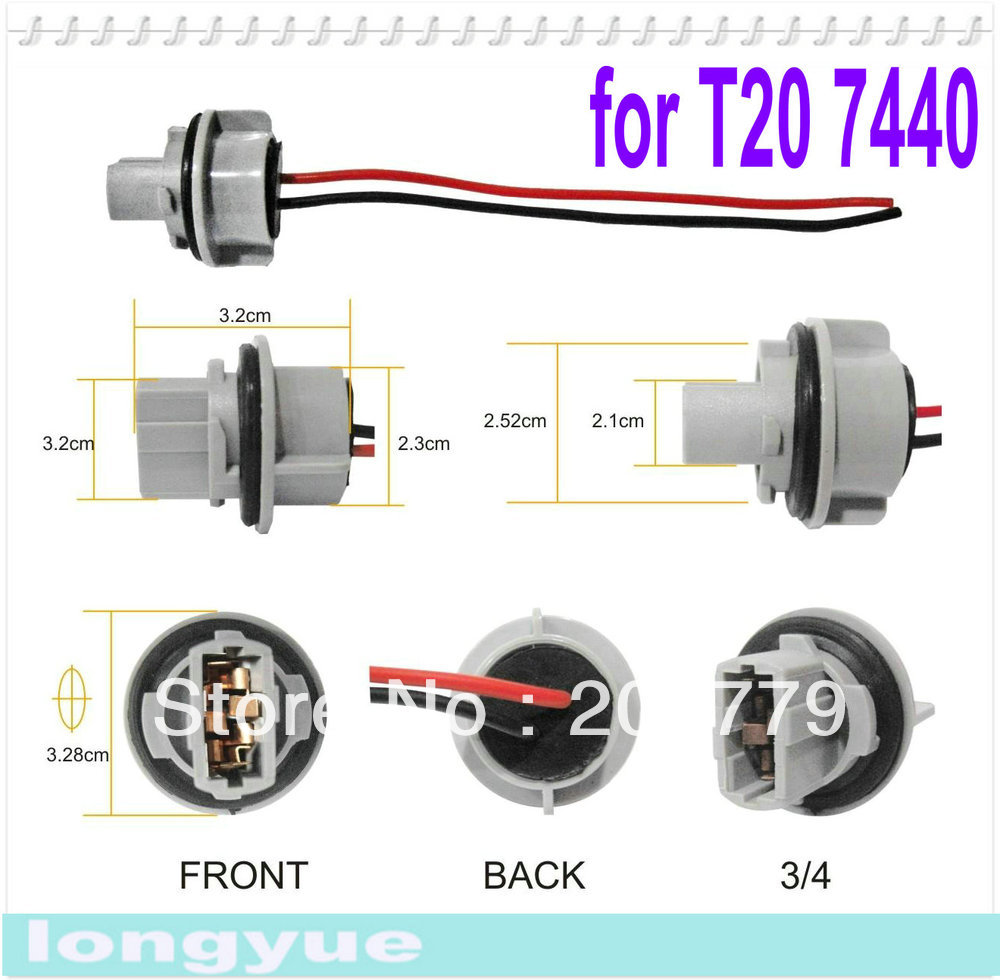 small resolution of 2pcs t20 7443 light socket headlight wiring harness connector adapter bulb wire in lamp bases from lights lighting on aliexpress com alibaba group