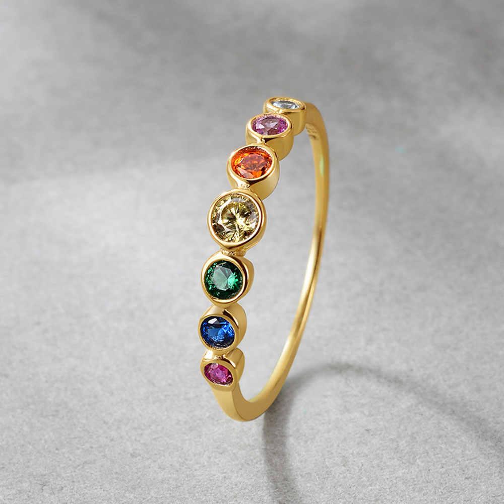E 925 เงินสเตอร์ลิง Rainbow แหวน 14K เครื่องประดับแหวนทองสีสตรี Cubic Zirconia หมั้นแหวน