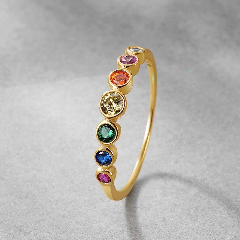 E Jewelry 925 Sterling Silver Rainbow Gemstones Ring for Women 14K Gold Plated Silver 925 Wedding Engagement Rings for Girls