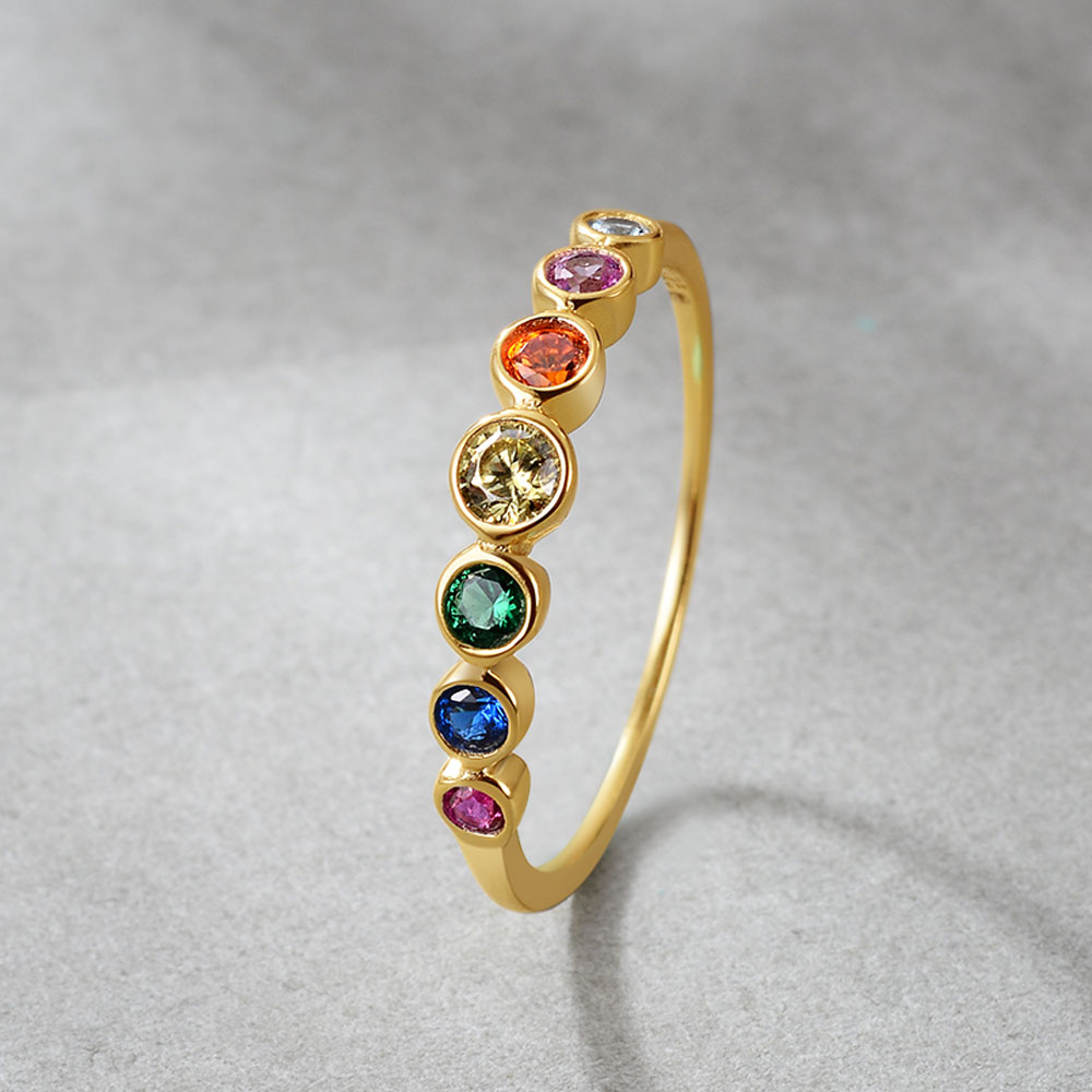 E Rainbow Color CZ Finger Rings for Women Stackable Ring Wedding Statement Real Sterling Silver 925 Jewelry 14K Gold Plated 3