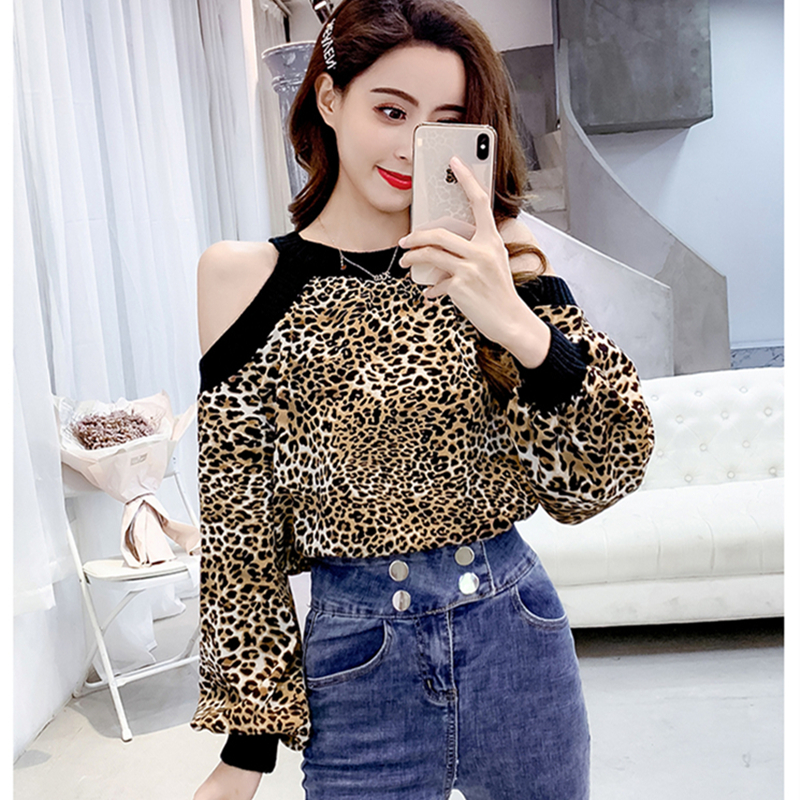 Leopard Blouse Long Sleeve Chiffon Shirt Women Sexy Off Shoulder 2019 Spring Ladies Top Blusas Mujer Verano Tunic Tops Plus Size 1