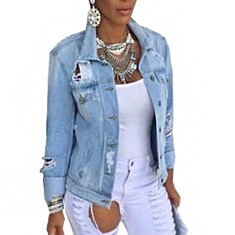 Women Denim Jacket Female   Coat   Autumn Long Sleeves Jeans Jackets Lapel Tops Pocket Single Breasted Casual Outerwear   Coat