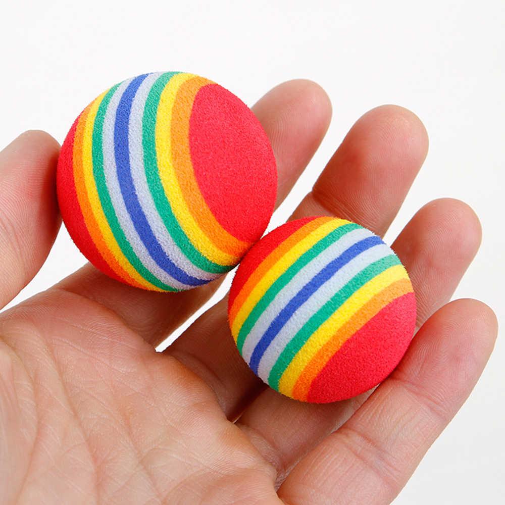 Diametro S/M/L giocattolo per animali domestici Baby Dog giocattoli per gatti arcobaleno palline da gioco colorate per animali domestici prodotti divertenti palline EVA