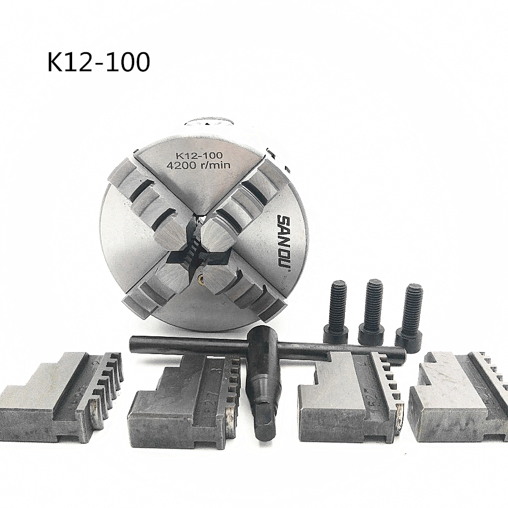4 100mm 4 Jaw CNC Lathe Chuck Self-Centering K12-100 K12 100 Hardened Steel for Drilling Milling Machine 100mm 4 jaw chuck self centering manual chuck four jaw k12 100 for cnc engraving milling machine cnc lathe machine