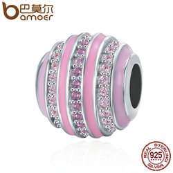 BAMOER Hot Sale 925 Sterling Silver Gradual Change Wheel Pink Enamel Clear CZ Beads fit Women Charm Bracelet DIY jewelry SCC344