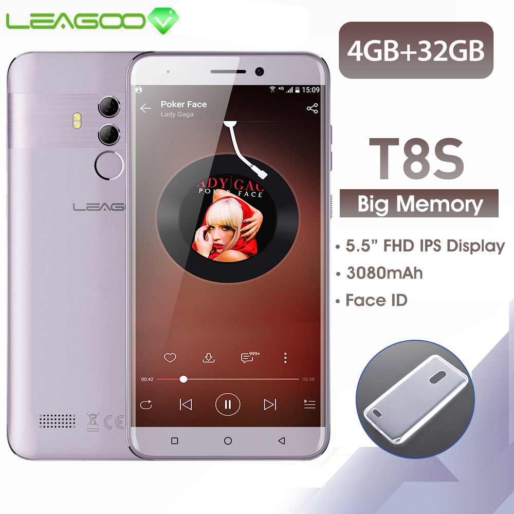 LEAGOO T8s Mobile Phone Android 8.1 5.5'' FHD 16:9 1920*1080 4GB RAM 32GB ROM MT6750T Octa Core Face ID 13MP 4G Smartphone