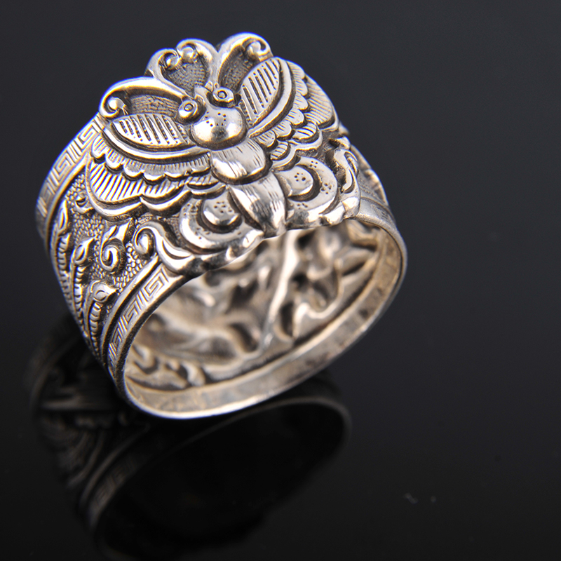 roll ring butterfly Yinfeng fine silver 999 sterling silver ring opening antique retro ring process of men and women retro rhinestone rattan butterfly bracelet with ring