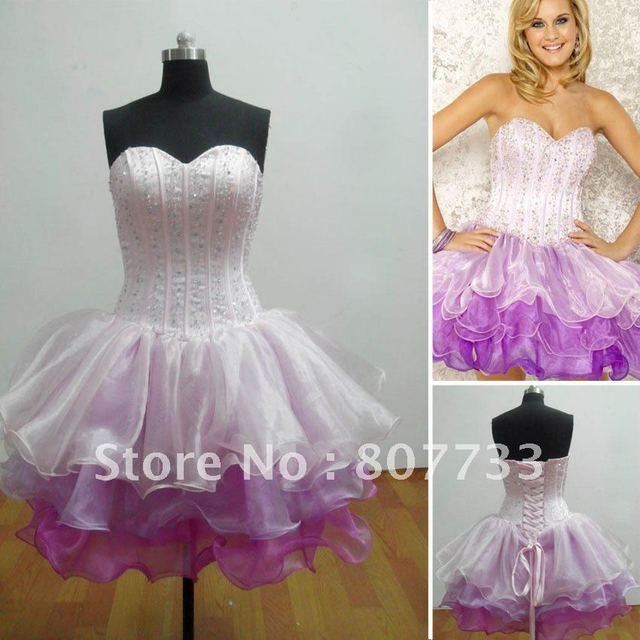 Real Sample Re043 Purple Organza Tail Dress Short Bandage