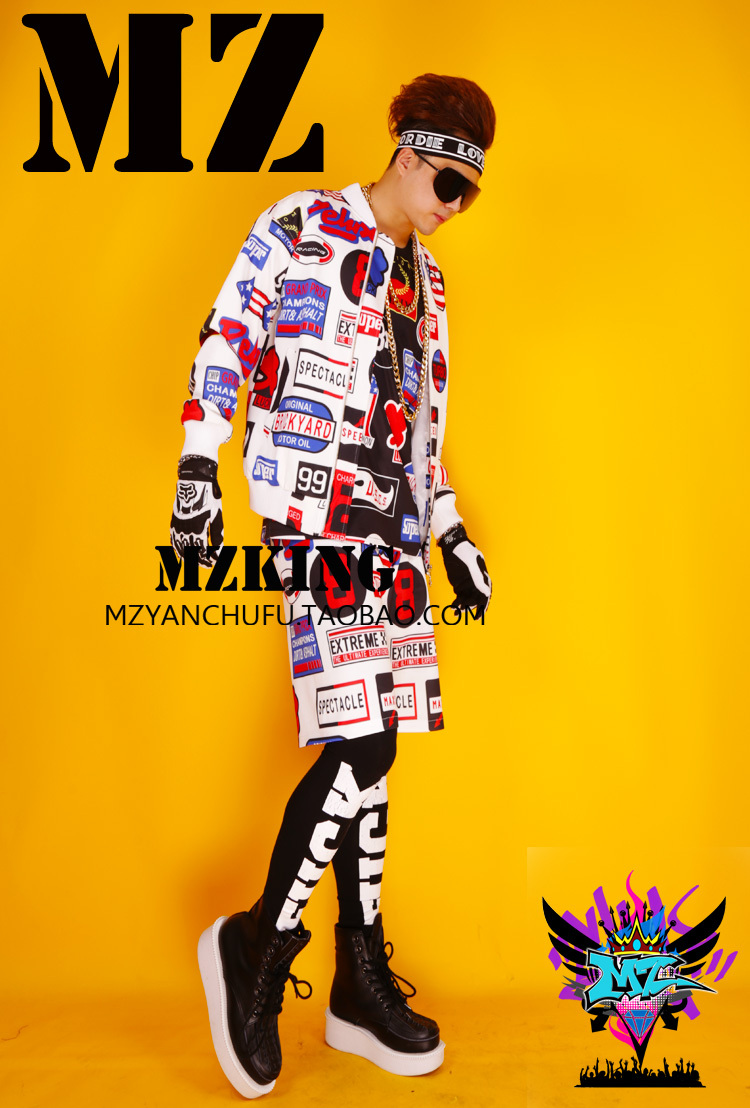 Bigbang style Nightclue male singer DJ chi dragon GD white color LOGO icon hip hop baseball uniforms jacket costumes S 4XL