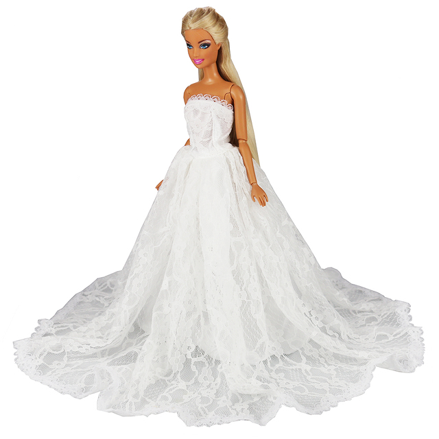 Newest Fashion Handmade Pink White Dress With Hat Wedding Evening Princess Party Clothes Doll accessories For Barbie Doll Gift 5
