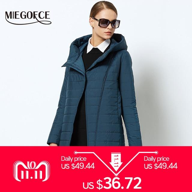2018 MIEGOFCE Весеннее женское пальто с кривой молнией женское стеганое пальто высококачественная тонкая хлопчатобумажная куртка