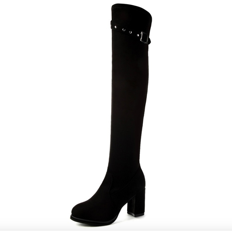 Women Boots Flock Autumn Winter Boots Women Warm Plush Square Heels Platform Over the Knee High Boots High Heel Women Shoes asumer autumn winter high quality keep warm nubuck leather zip over the knee boots elegant platform high heel women boots