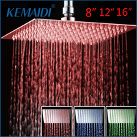 KEMAIDI 8 12 16 LED Shower Head Romantic Bathroom Shower Head Temperature Control 3 Color Light Shower Head Square Showerhead