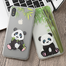 Lovely Couple Panda Phone Case For iPhone X XR XS Max 7 6 6S Plus 5 5S SE Silicone Soft Cover For iPhone 8 8 Plus Cases Capa