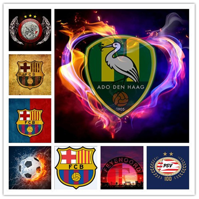 5D DIY Diamond Painting Cross Stitch Kits round Full Rhinestone Pictures Diamond Embroidery Football team logo icons Wall Decor
