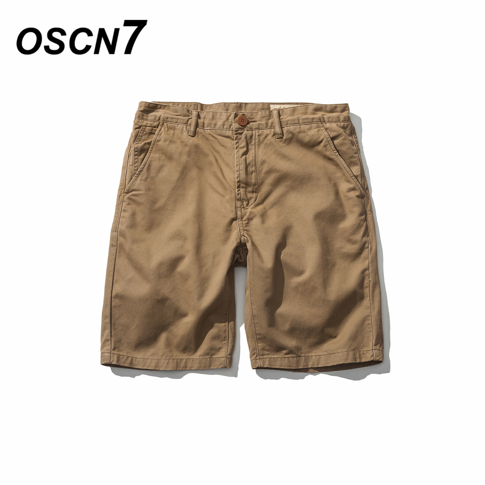 OSCN7 Solid Leisure Shorts Cargo Summer Fashion Cotton Shorts Large Size 2018 Classic Short Pants