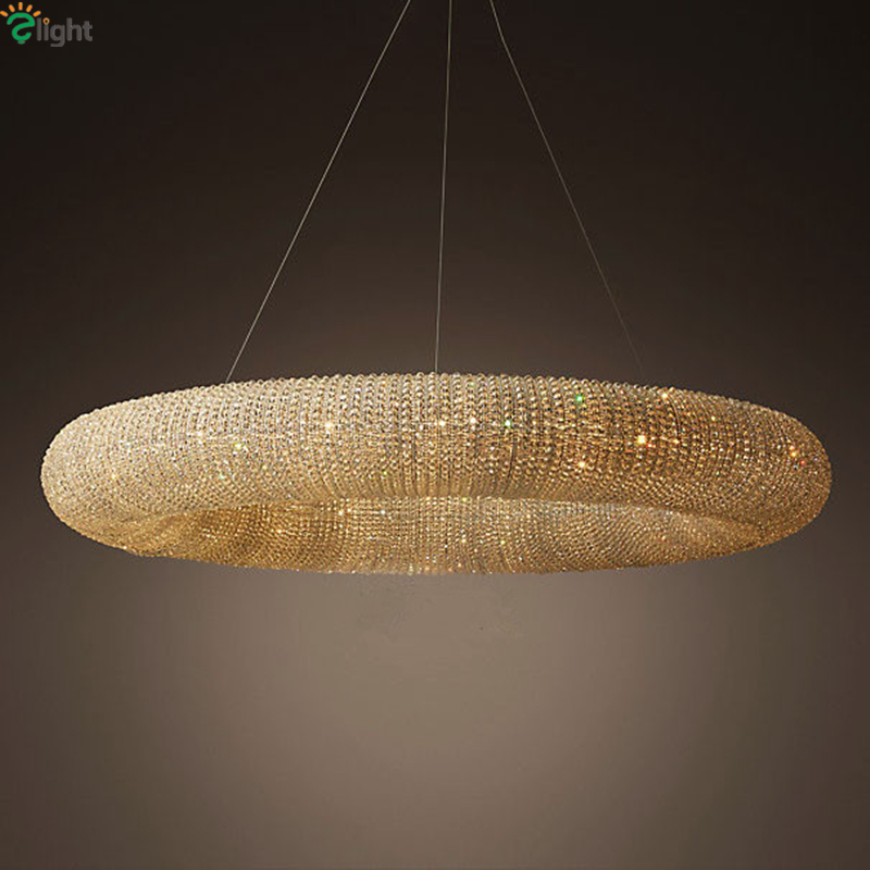American RH Crystalhalo Lustre De Cristal Led Round Pendant Light K9 Crystal Loft Restaurant Minimalism Cord Suspension Lamp rh led pendant lamp loft restaurant bar