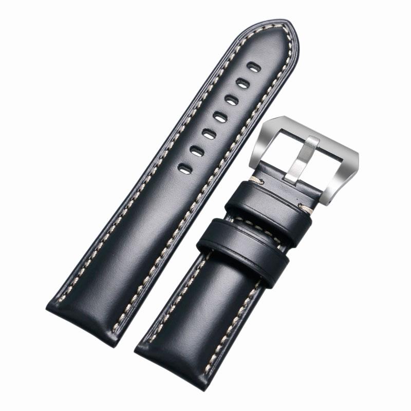 Prix pour Haute Qualité Noir/Brun/Café 24mm/26mm Durable Hommes Femmes En Cuir Véritable Montres Bracelet De Montre bande Boucle