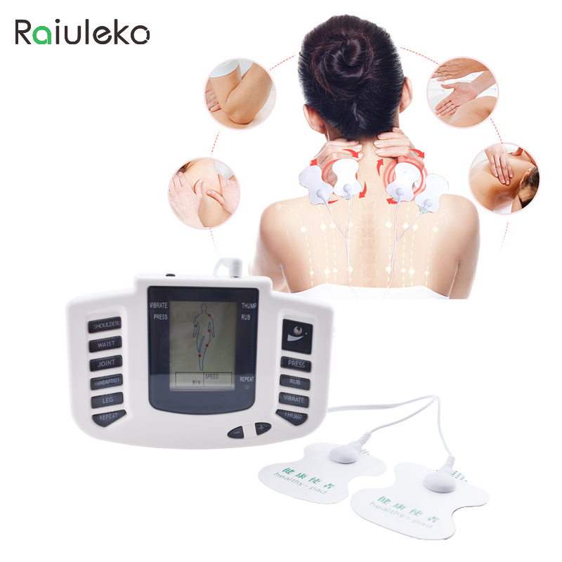 Raiuleko Therapy Massager 12Pads Electrical Stimulator Full Body Relax Muscle Therapy Massager LCD Screen Pulse Tens Acupuncture 2017 hot sale mini electric massager digital pulse therapy muscle full body massager silver