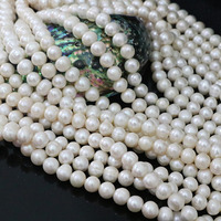 Charms White Natural Freshwater Cultured Round Pearl Diy Women High Grade Jewelry Loose Beads 15inch B1395