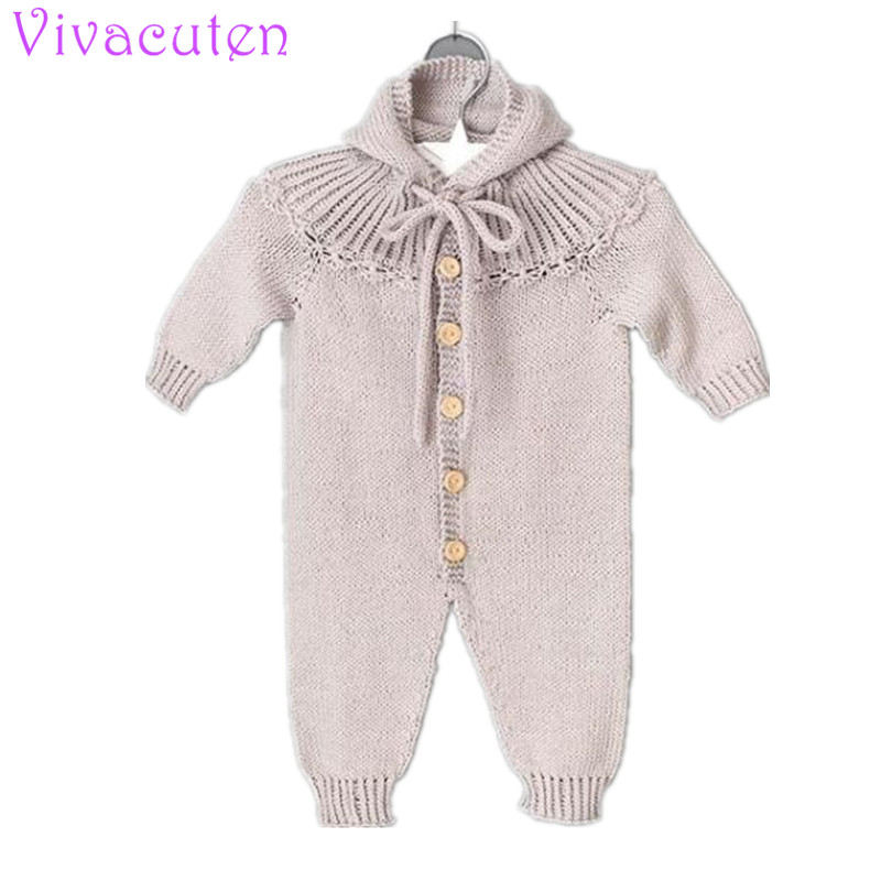 Autumn baby knit rompers Long Sleeves Climbing And New Clothes Baby Girl Romper New Born Baby Clothes Jumpsuit boys clothes grey cable knit slit details round neck long sleeves jumper