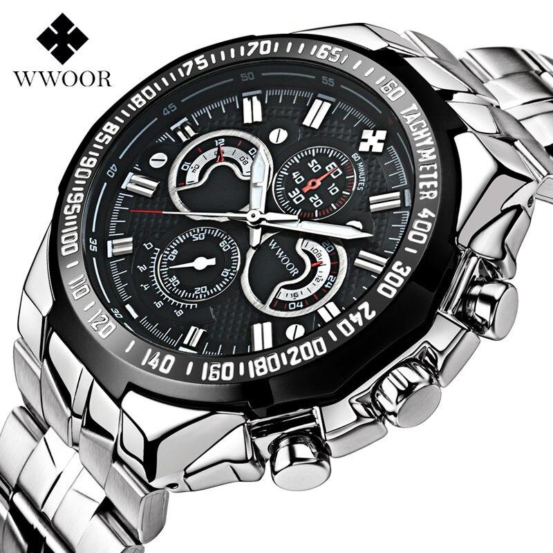 Top Luxury WWOOR Men s Watches Luminous Relogio Male Quartz Wathces Silver Clock Stainless Steel Strap