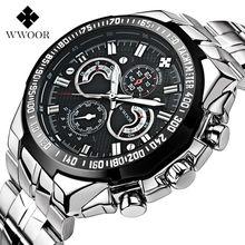 Top de luxe wwoor hommes de montres lumineux relogio mâle quartz wathces argent horloge bracelet en acier inoxydable sport montre étanche