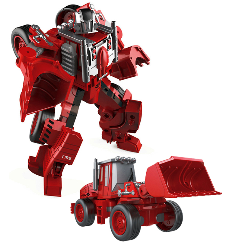 Transformation Robot Car Metal Alloy Engineering Construction Vehicle Truck Assembly Deformation Toy 2 in 1 Robot Kid Toys Gifts ksb metal construction toys metal model assembly puzzle building block set construction vehicle