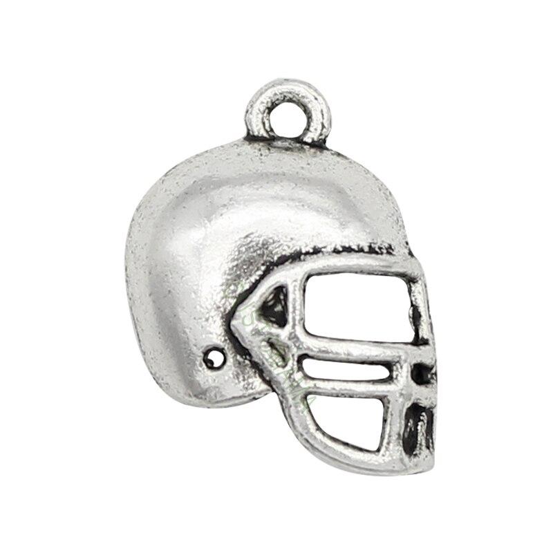 80pcs-Antique Tibetan Silver Football Helmet Charms Pendant 20x15mm