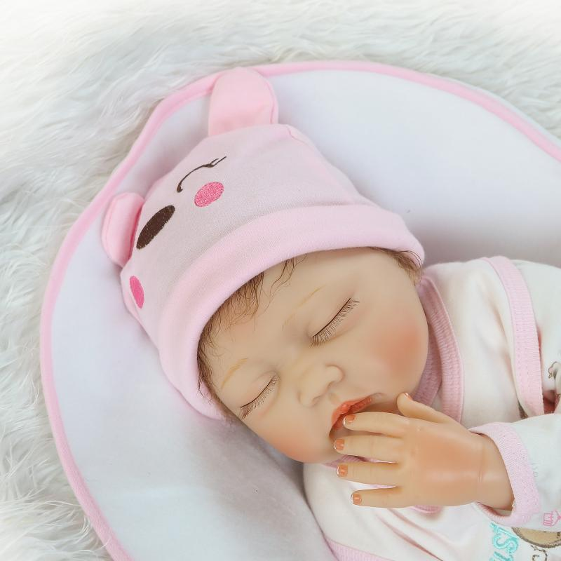 NPKCOLLECTION Hair Rooted Realistic Reborn Baby Dolls Soft Silicone 22 /55cm Lifelike Newborn Doll Girl XMAS Gift
