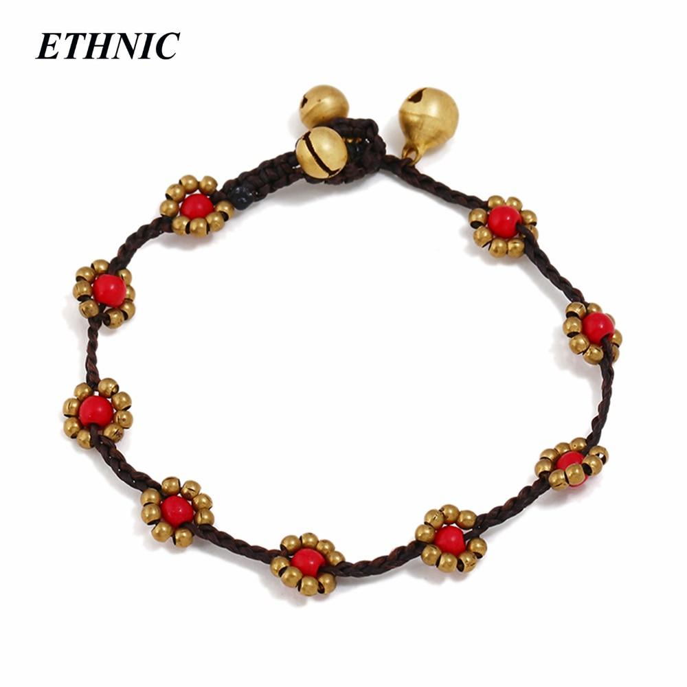 32c0d9df9831 US $1.39 30% OFF|Boho Bohemian Handmade Stone Beads Flower Strand Bracelets  For Women Simple Design Ethnic Wristband Jewelry Friendship-in Strand ...