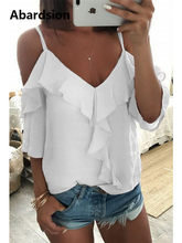 Abardsion Off Shoulder Top Blouse Women Half Sleeve Spaghetti Strap Ruffle Womens Tops And Blouses Summer 2019 White Shirt Blusa(China)