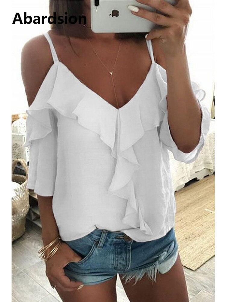 Abardsion fora do ombro blusa feminina meia manga cinta de espaguete ruffle das mulheres topos e blusas verão 2019 camisa branca