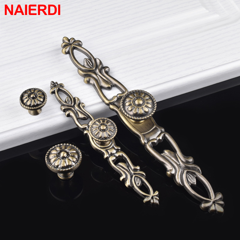 NAIERDI Bronze Kitchen Handles Door Cupboard Zinc Alloy Cabinet Knobs European Wardrobe Furniture Handle Drawer Pull Hardware kak 8005 5pcs tracery basket bronze tone kitchen cabinet knobs door cupboard handles wardrobe furniture hardware drawer pull