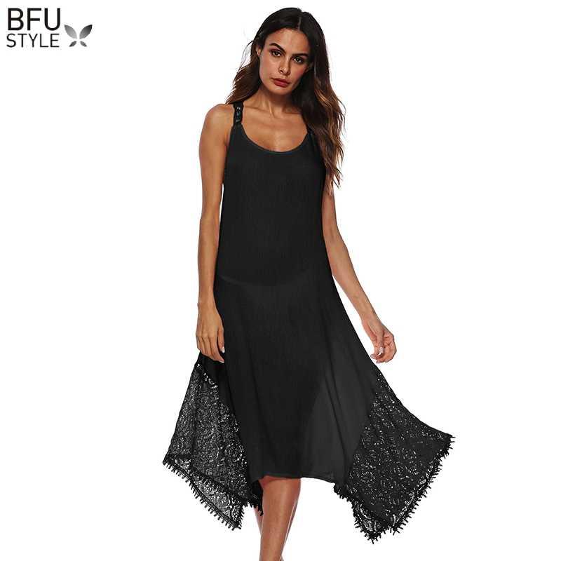 [S-5XL] плюс размер женский пляжный халат платье Сексуальная без рукавов и спинки кружевные Длинные платья розовый черный белый Vetement Femme 2019